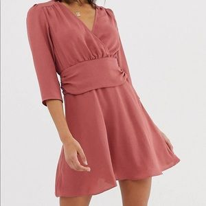 Mini dress with ruched waist